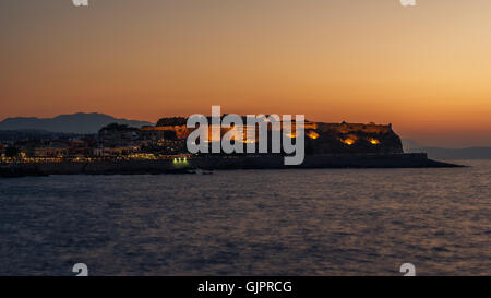 Rethymno, Crete, Greece: the Fortezza in the sunset - Stock Photo