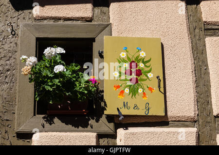 Frame Houses in Bergheim, Alsace, France - Stock Photo