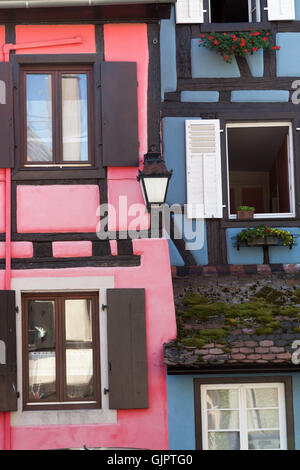 Frame Houses in Bergheim, Alsace, France. - Stock Photo