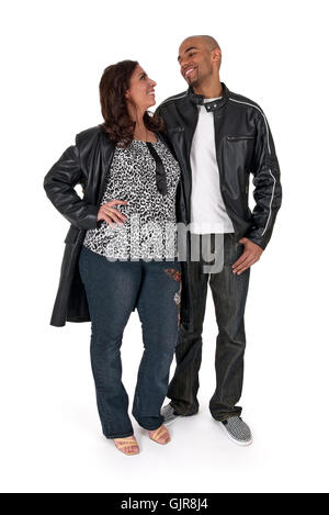 Mature woman with a younger man - Stock Photo