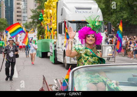 Montreal, CA - 14 August 2016: Mado at Montreal Pride Parade. Mado is a famous drag-queen who runs a drag cabaret, - Stock Photo