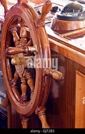 wheel boat controls - Stock Photo