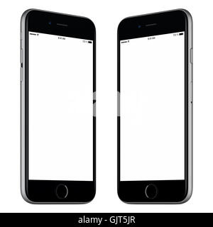 Black mobile smart phone mock-up. This mock-up includes both sides of slightly rotated white smart phone with blank - Stock Photo