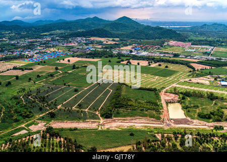 Land Development Farming and Agriculture in Thailand aerial photo - Stock Photo