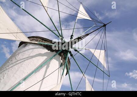 greek windmill in closeup - Stock Photo