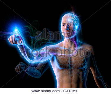 Energy flowing from cogs in man's brain through arm to pointing finger - Stock Photo
