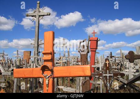 hill of crosses in siauliai - Stock Photo