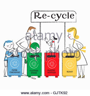 Family using paper, clothes, plastic and glass recycling bins - Stock Photo
