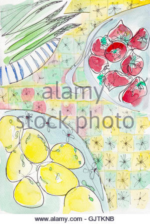 Fresh lemons, tomatoes and asparagus - Stock Photo