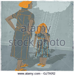 Mother scolding daughter - Stock Photo
