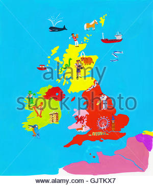 Illustrated map of British Isles - Stock Photo