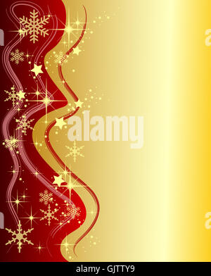 golden christmas frame with stars - Stock Photo