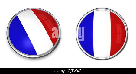 france flag button - Stock Photo