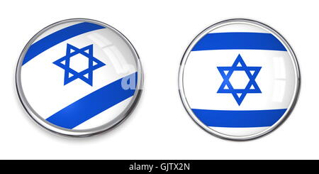flag button israel - Stock Photo