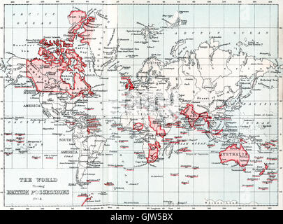 Map of the world showing British possessions in 1904. - Stock Photo