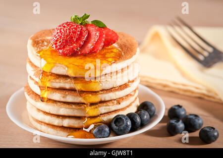 maple pancakes syrup - Stock Photo