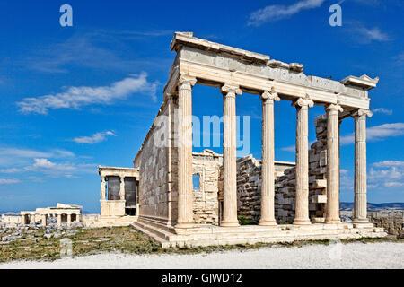 The Erechtheion (421 B.C.) on the Athenian Acropolis, Greece - Stock Photo
