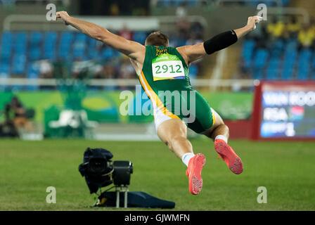Rio de Janeiro, RJ, Brazil. 17th Aug, 2016. OLYMPICS ATHLETICS: Rocco van Rooken (RSA) throws in the Men's Javelin - Stock Photo