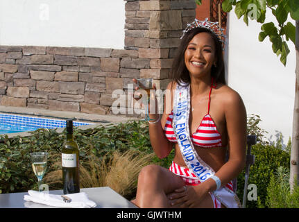 Southport; Merseyside; UK. 18th August; 2016. Miss England 2016 at in swimmers outfit at the Southport Flower Show - Stock Photo