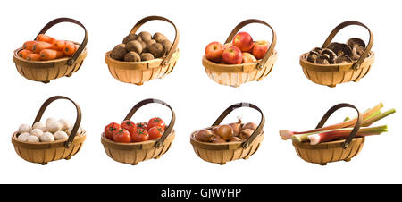 isolated basket fruit - Stock Photo