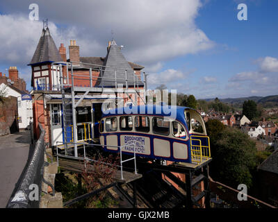 Castle Hill Funicular Electric Cliff Railway, Bridgnorth, Shropshire, England, UK - Stock Photo