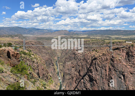 Royal Gorge bridge over the Arkansas River in Colorado - Stock Photo