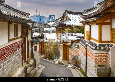 Seoul, South Korea at the Bukchon Hanok historic district. - Stock Photo