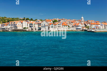 Prvic Sepurine island near Vodice town in Croatia - Stock Photo
