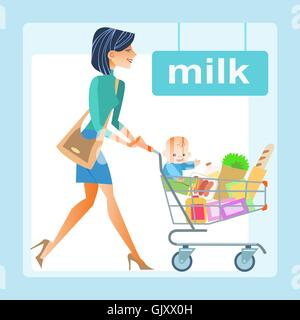 mom hopping cart baby store - Stock Photo