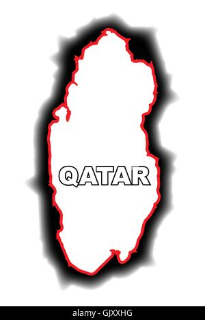 Outline Map of Qatar - Stock Photo