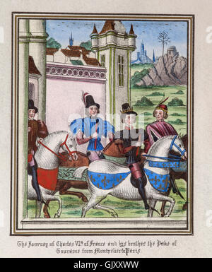 Charles VI of France and his brother, the Duke of Touraine journeying from Montpellier  to Paris. - Stock Photo