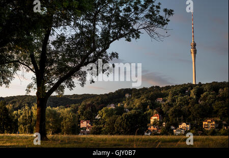 Elbe river bank view onto the 'Fernsehturm', Dresden, Saxony, Germany (Dresden TV Tower Elbe panorama). 2016 - Stock Photo