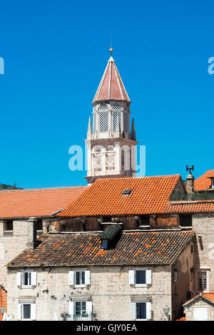 Trogir is a historic town on the Adriatic coast in Split-Dalmatia County, Croatia, - Stock Photo