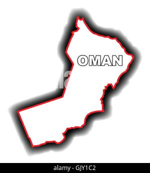Outline Map of Oman - Stock Photo