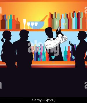 People at the bar - Stock Photo