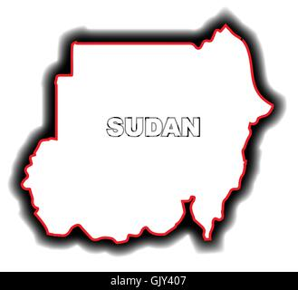 Outline Map of Sudan - Stock Photo