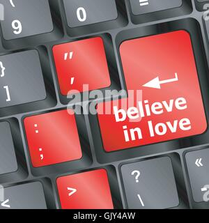 keyboard key with believe in love text and arrow vector - Stock Photo