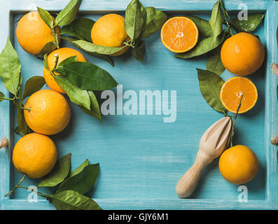Fresh oranges with leaves on blue painted wooden background, top view, copy space, horizontal composition - Stock Photo