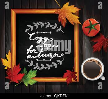 Chalkboard with autumn leaves - Stock Photo