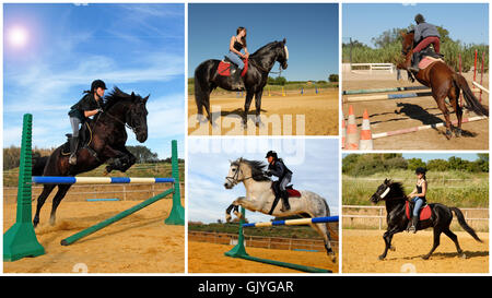 woman horse black - Stock Photo