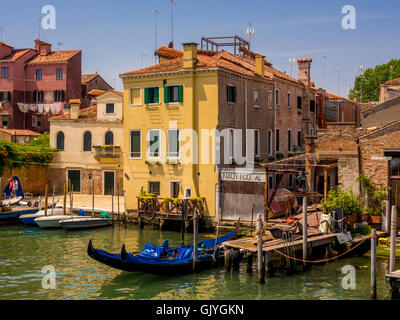 View of the Canale di San Pietro from Ponte di Quintavalle. Venice. Italy. - Stock Photo