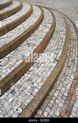 stairs staircase cobblestone - Stock Photo