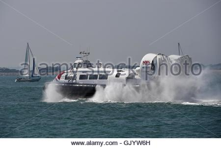 The new Solent Flyer hovercraft , Hovertravel, Portsmouth in Hampshire which travels to Ryde on the Isle of Wight - Stock Photo