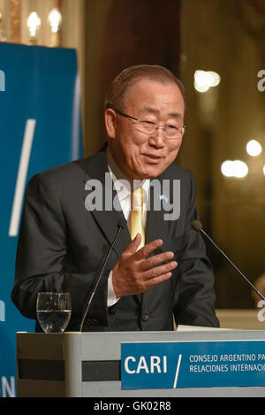 Buenos Aires, Argentina - Aug 8, 2016: United Nations Secretary-General Ban Ki-moon during visit to Argentina. - Stock Photo