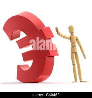 Stopping Shiny Red Euro Sign - Stock Photo