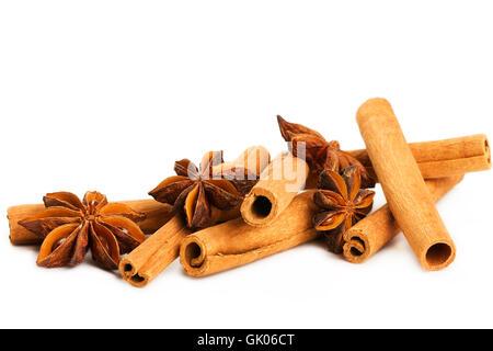 cinnamon sticks with star anise - Stock Photo