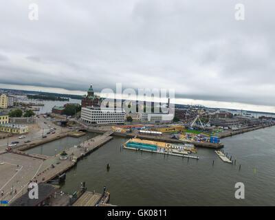 Aerial view on uspenski cathedral and yhe finnair wheel on katajannokka, in Helsinki, Finland - Stock Photo