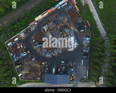 Aerial view on a junk yard or a dumb, in raasepori, finland - Stock Photo