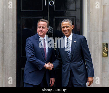 US President, Barack Obama on his visit to Number 10 Downing Street. Obama is holding bilateral talks with UK Prime - Stock Photo