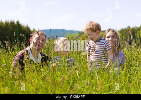 happy family in summer - Stock Photo
